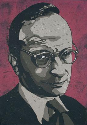 Rudolf Frank - Linoldruck von Thilo Weckmüller - rudolf-frank
